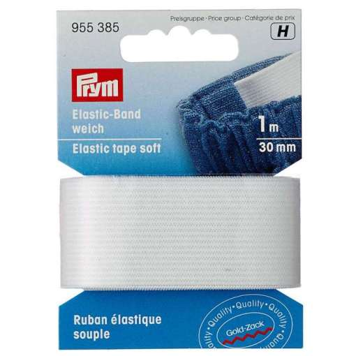 Prym elastic band 30mm white