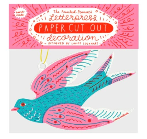 The Printed Peanut Letterpress Paper Cut Out Swallow