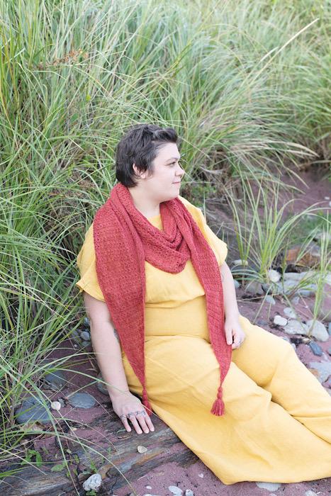 Modeling red shawl Making Magazine - No. 11 DAWN