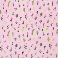 Rico Design Printed Cotton Scattered Flowers Pink -Neon