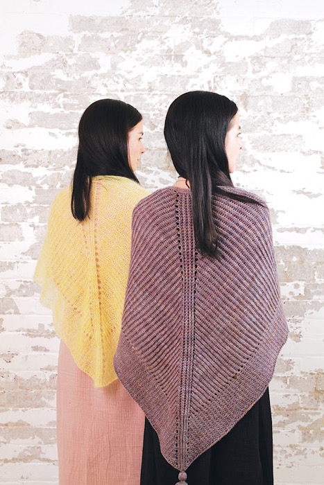 2 women modeling scarf Moon and Turtle - Kiyomi & Sachiko Burgin