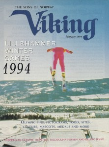 Cover of 1994 Viking Magazine with magazine article written by Laurie Winslow Sargent on Lillehammer athlete Hildegunn Fossen