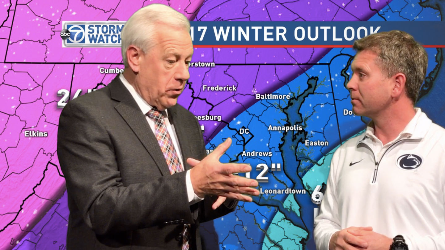 IB Environmental Systems teacher and ABC 7 meteorologist Mr. Ryan Miller presents his winter weather outlook with his colleague, chief meteorologist Doug Hill, on The Daily Dispatch's Friday Show on Dec. 9non