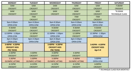 crossfit coorparoo timetable