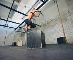 Woman doing box jump