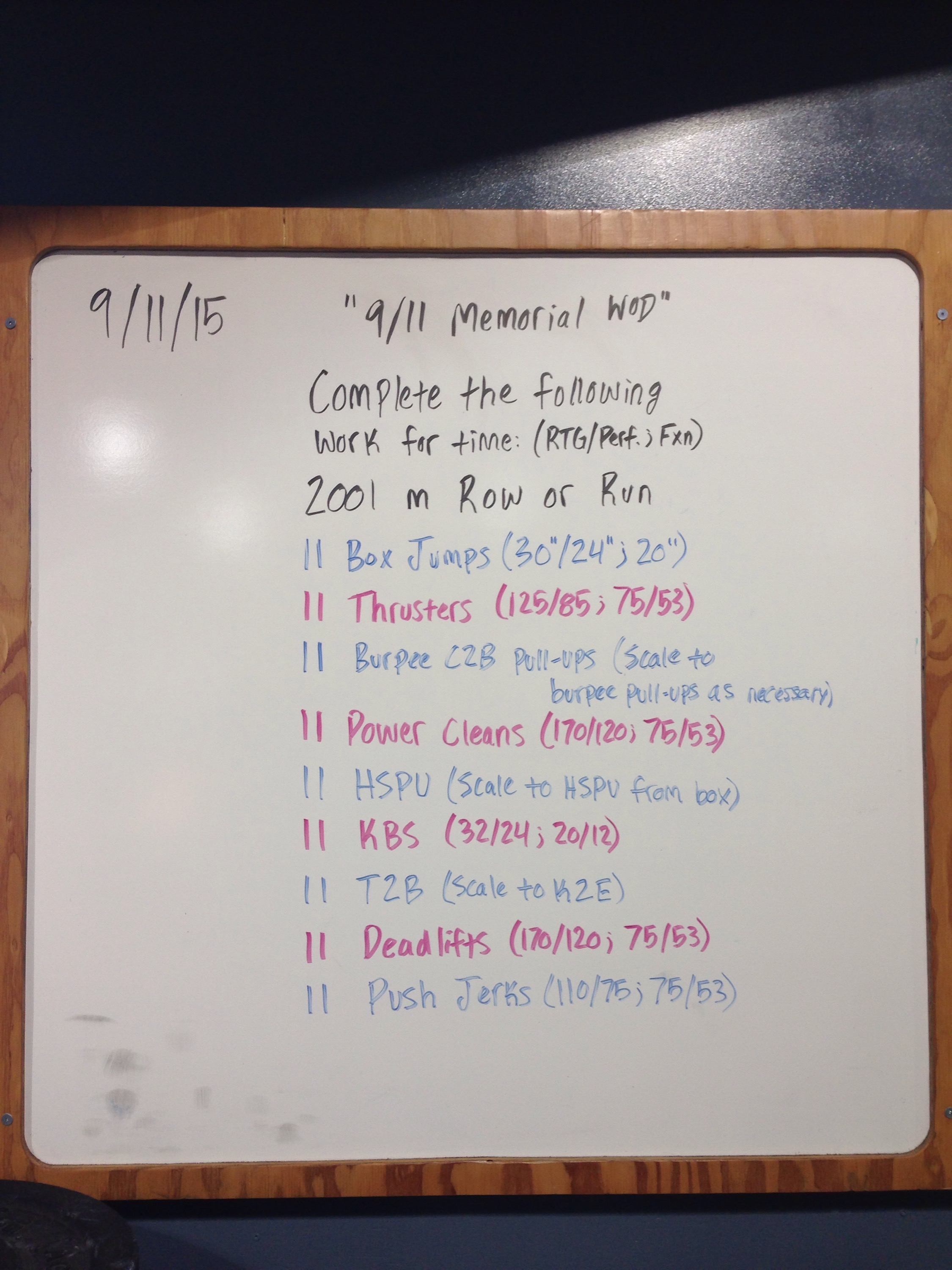 9112015 911 Memorial WOD Result Crossfit Threshold