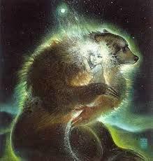 bear protecting chlld drawing