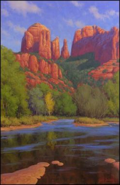 "Painting of Cathedral Rock in Sedona: ""Cathedral Morning"" by Cody DeLong of Jerome, Arizona"
