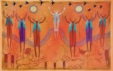 I love Bill Worrell's poster above of ancestor spirits connecting with earthly and celestial energies.