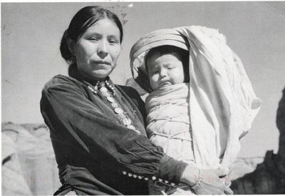 Navajo woman with baby historic photo