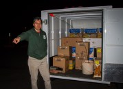 Gino Romeo supervising loading of produce in Sedona predawn. (photo by Jackie Klieger)