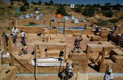 Straw bale home build at Hopi