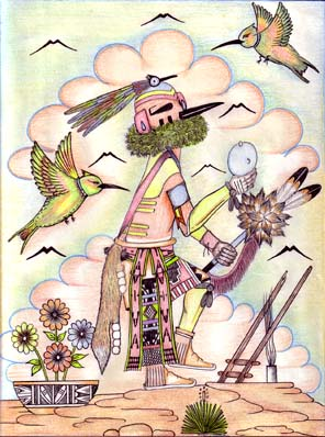 pencil drawing of Hummingbird Katsina on top of a kiva