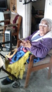 Hopi elder happy to receive a space heater and Hopi coronavirus emergency hygiene and food support..