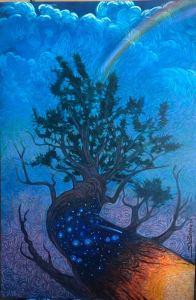 Large pinyon pine with spiral symbols reaching to the darkening sky.