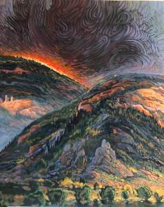 Shonto Begay painting Cresting Inferno shows a wildfire in the open plateau lands approaching a prehistoric village site.