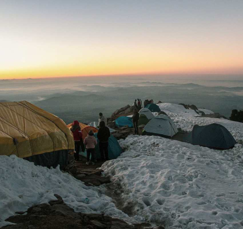 Sunrise from Triund during winters