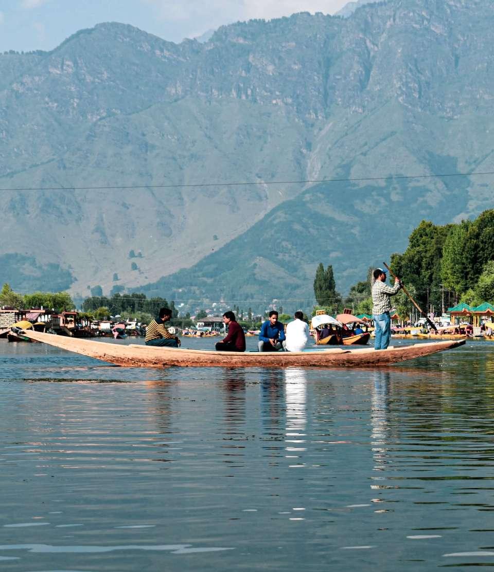 view form the boat ride in dal lake srinagar