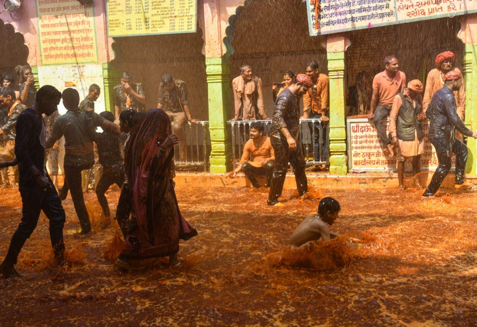 People enjoying the Huranga Holi