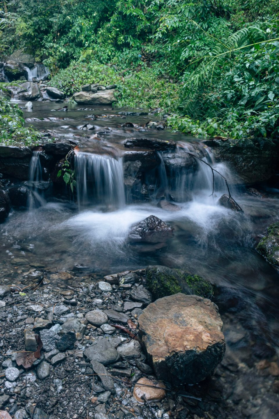The long exposure shots of the water stream