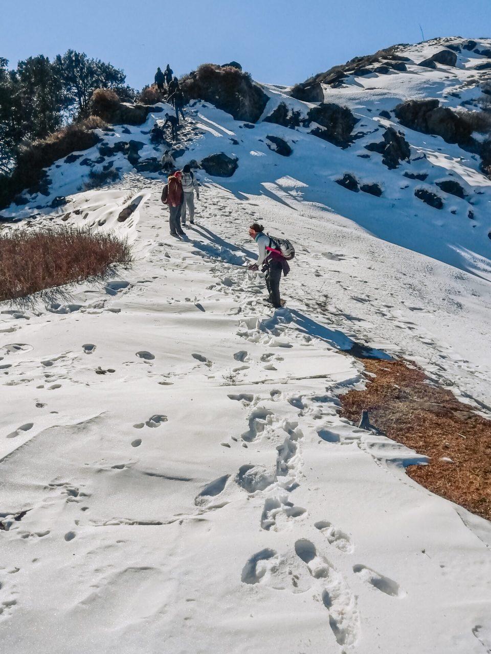 Serolsar Lake Trek during Winters accompanied by a group of travellers