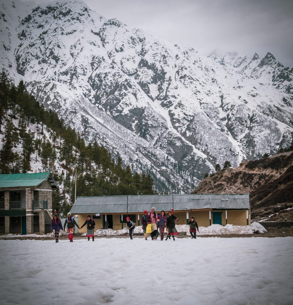 Students were spotted coming out of the schools in Chitkul