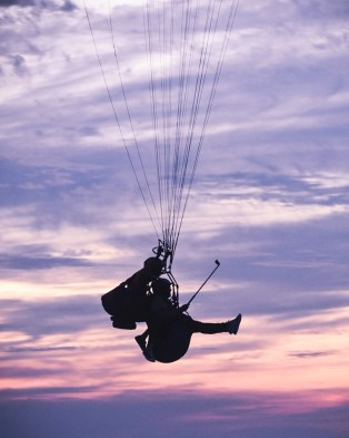 Paragliding after the Sunset