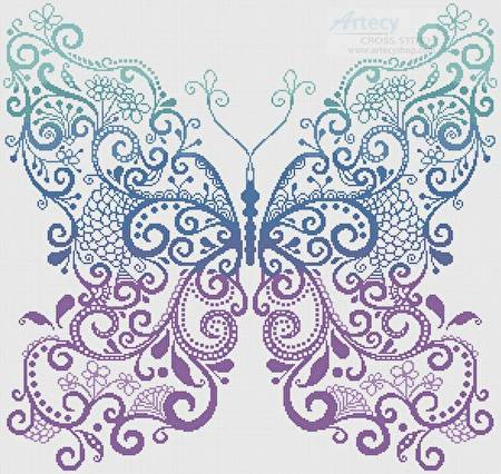 Purple Blue Green Butterfly Cross Stitch Pattern Fantasy
