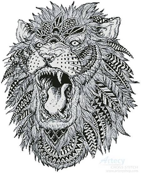 Abstract Lion Cross Stitch Pattern Lion
