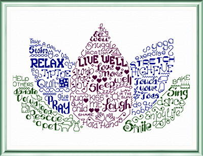 Let S Live Well Cross Stitch Pattern Words