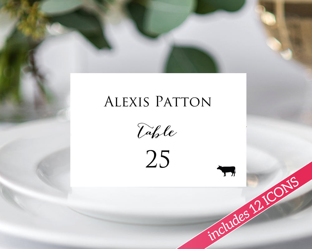 Place Cards With Meal Choice DIY Wedding Templates And Printables