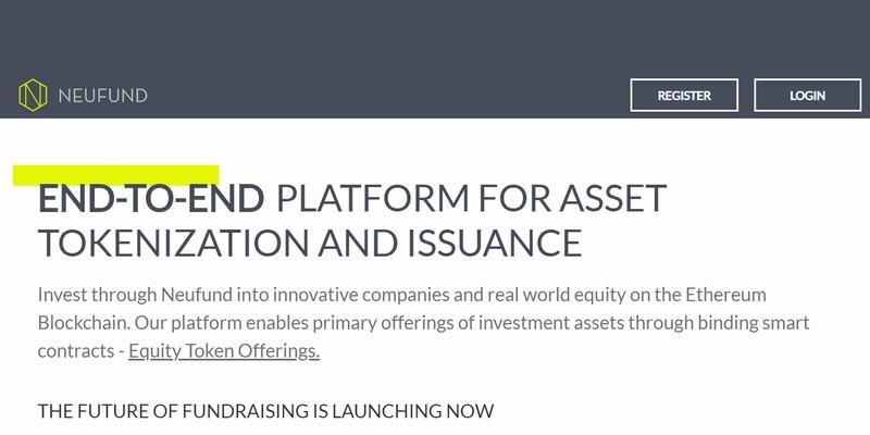 Neufund prima piattaforma europea per security token offering
