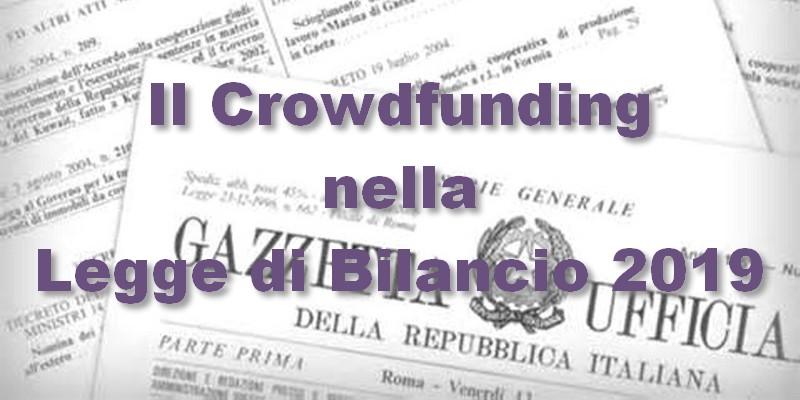 Legge di bilancio 2019 e crowdfunding