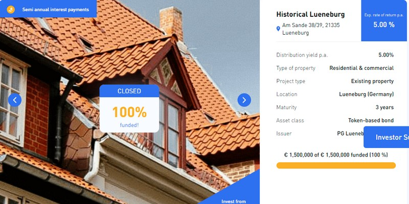 STO immobiliare in Germania raccoglie 1,5 milioni per un bond