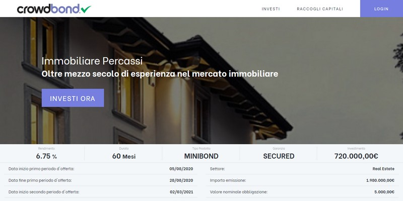 Crowdbond lancia minibond immobiliare Percassi