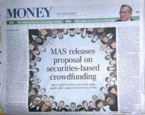 Monetary Authority of Singapore Headlines on Securities Crowdfunding Newspaper