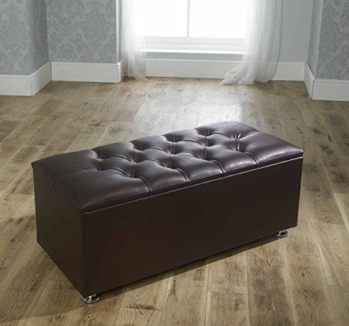 crown faux leather diamante ottoman toy storage blanket box brown