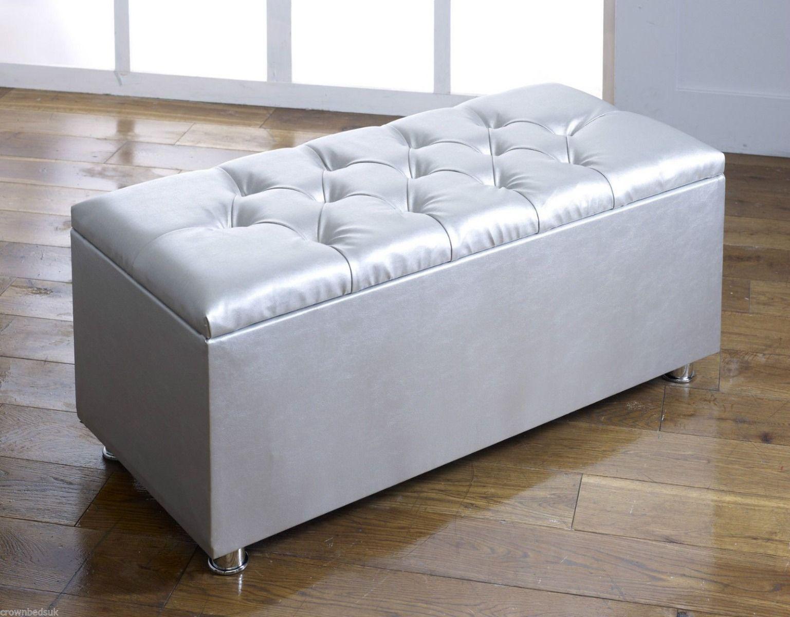 crown faux leather diamante ottoman toy storage blanket box silver
