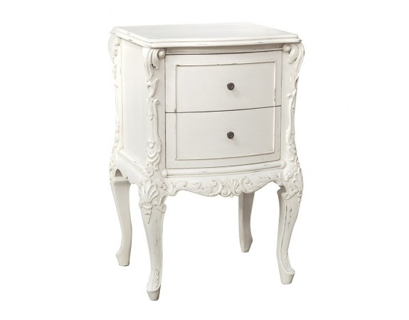 Provencale Antique White 2 Drawer French Bedside Cabinet French Bedside Tables French Bedroom Furniture