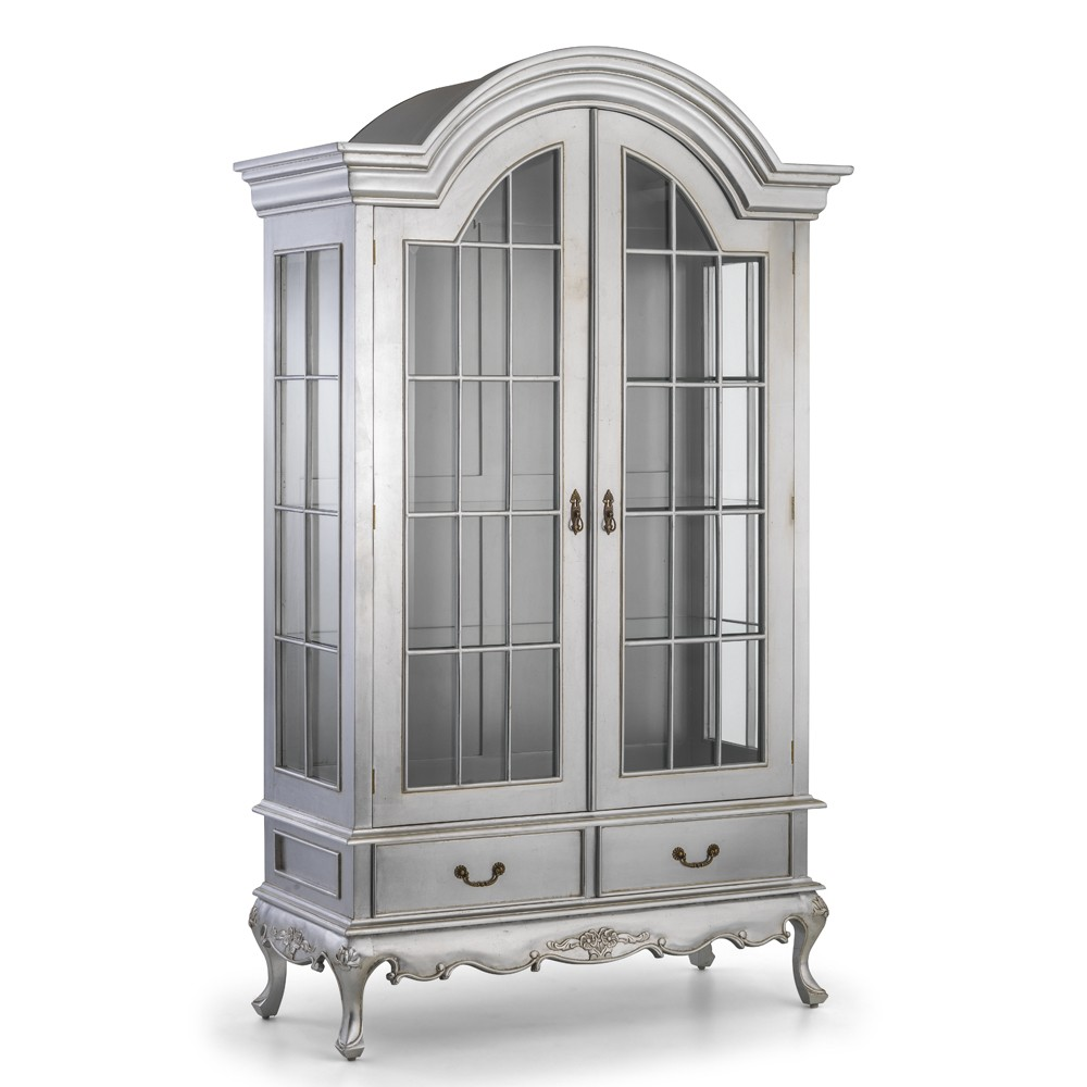 Amelie French Silver Louis Display Cabinet Crown French