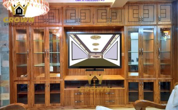 wall show case with T V cabinet very quality full interior design in minimum price at Crown gypsum interior company