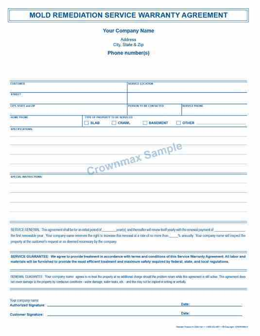 Mold Remediation Service Warranty Agreement Pt Crownmaxcom - Mold removal invoice