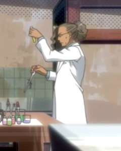 Scientists always seem to be swirling test tubes. Capture from the Funimation stream.