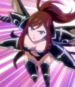 Erza can equip and re-requip her armor as the fight demands. She is absolutely relentless. Capture from the Funimation stream.