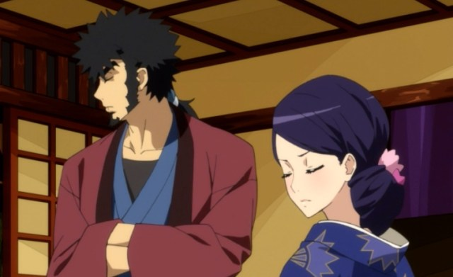 Tsubaki insists that Mabuchi not die in the happi coat she made for him. Capture from the Funimation stream.