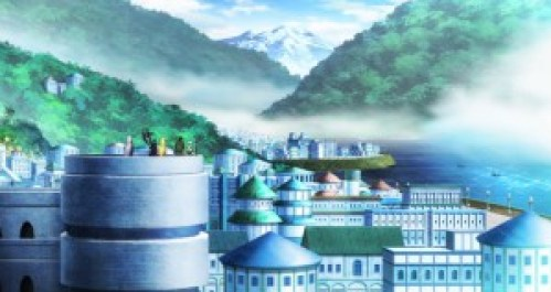 Our heroes stop at the beautiful academic city Rondel. Capture from the Crunchyroll stream.