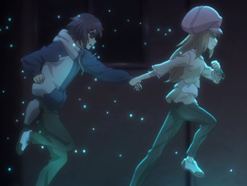 The stranger leads Ayato away from the gang members. Capture from the Crunchyroll stream.