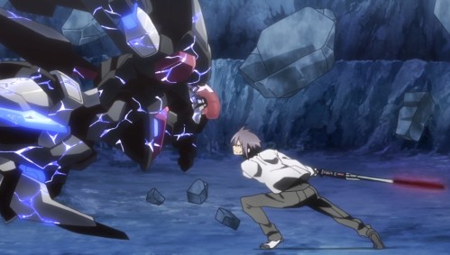 Ayato and the optimized Ser-Veresta go head to head with AR-D. Capture from the Crunchyroll stream.