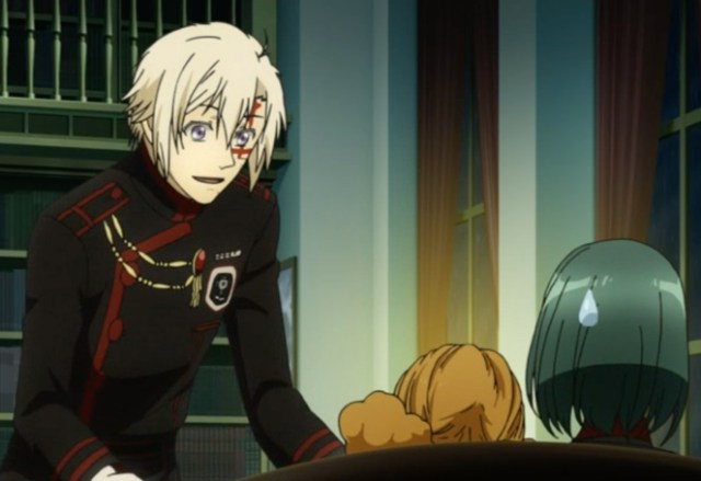D.Gray-man HALLOW Episode 104: The new uniforms have red piping. They look more dramatic. Capture from the Funimation stream.