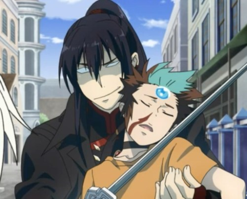 Kanda used gentle persuasion to convince the boy to un-possess Allen. Capture from the Funimation stream.